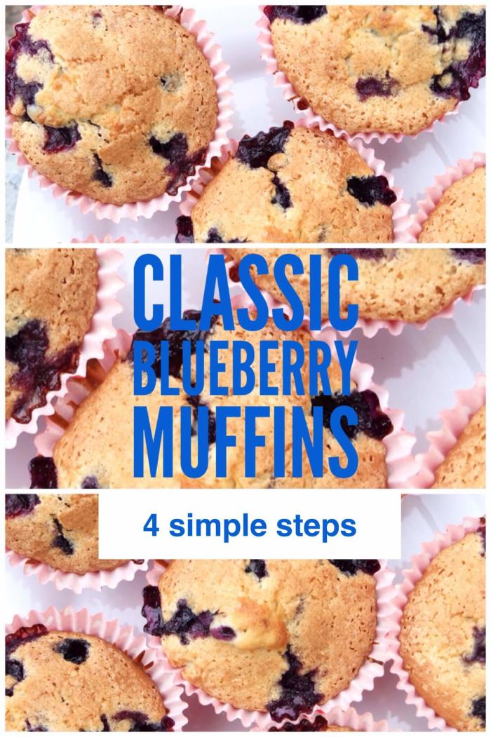 A simple 4 step recipe for Classic Blueberry Muffins.