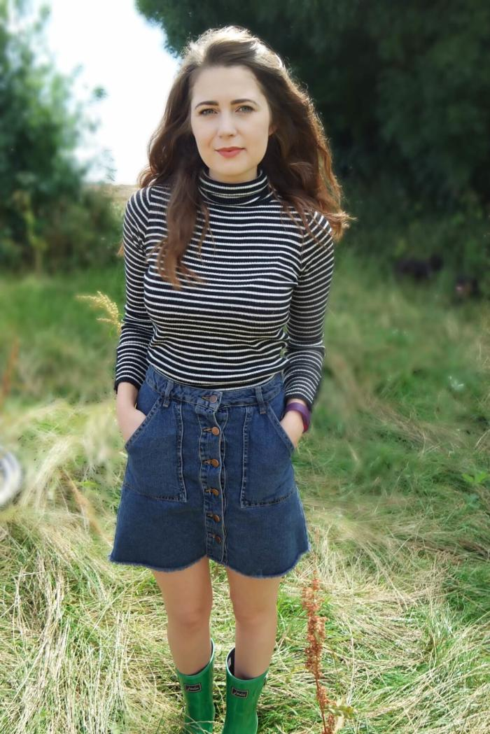 An OOTD featuring the perfect A Line Skirt, paired with a simple striped top and a pair of wellies for a woodland walk.