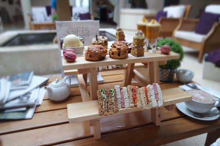 Afternoon Tea at The Malvern Spa, Worcestershire. A selection of sandwiches, cake and Cream Tea.