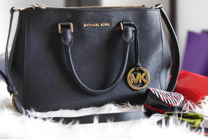 9b91d90d8c0c real michael kors sutton black leather whats in my bag tag 8533b 6575c
