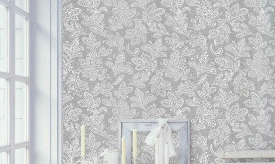 Inspired Wallpaper Calico Leaf Grey