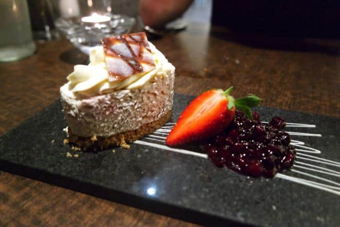Blackcurrant Cheesecake at The Vale Grill, Cardiff