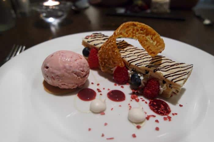 Raspberry and Blueberry Mille Feuille at The Vale Grill, Cardiff