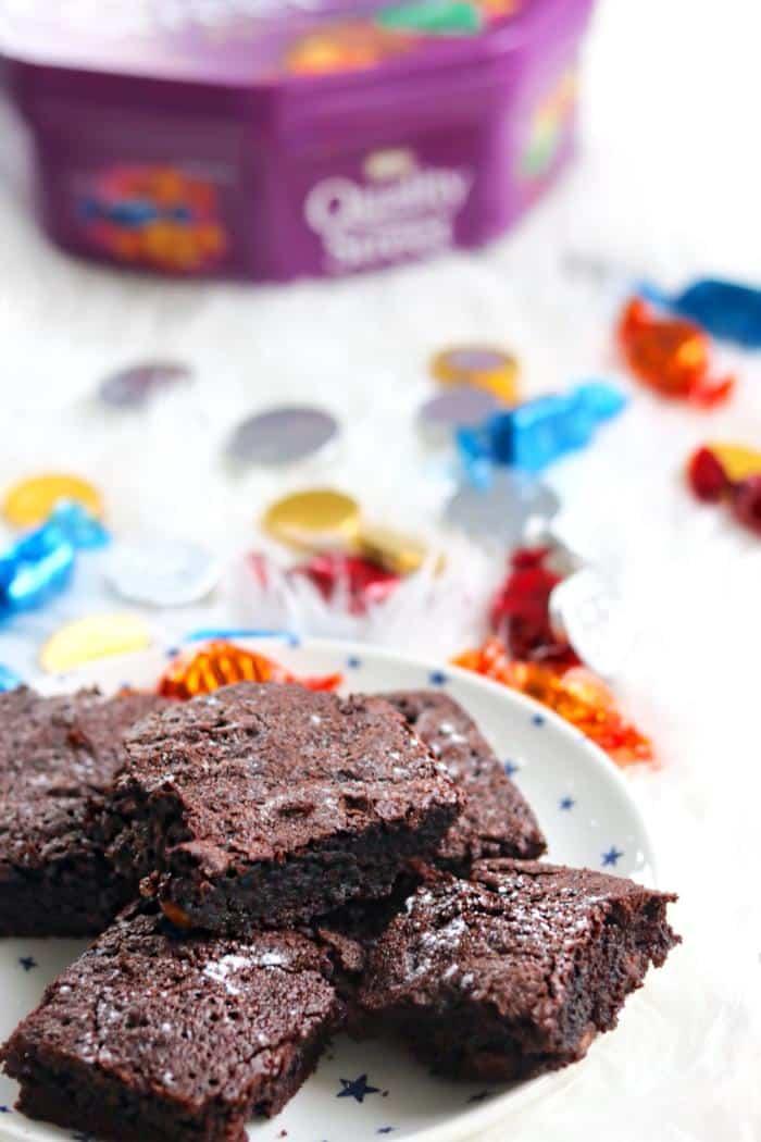 gooey chocolate brownies with quality street
